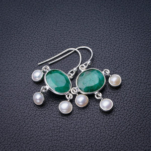 "StarGems Natural Emerald And River Pearl Handmade 925 Sterling Silver Earrings 1.25"" D7536"