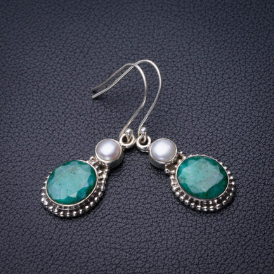 StarGems Natural Emerald And River Pearl Handmade 925 Sterling Silver Earrings 1.75