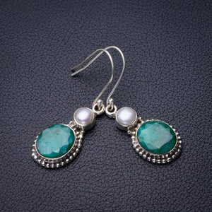 "StarGems Natural Emerald And River Pearl Handmade 925 Sterling Silver Earrings 1.75"" D7540"