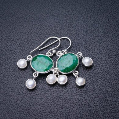 StarGems Natural Emerald And River Pearl Handmade 925 Sterling Silver Earrings 1.5