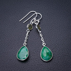 "StarGems Natural Emerald And Peridot Handmade 925 Sterling Silver Earrings 2"" D7545"