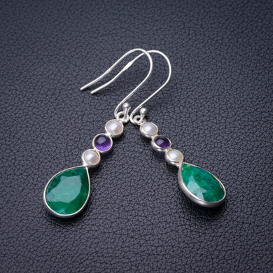 StarGems Natural Emerald,River Pearl And Amethyst Handmade 925 Sterling Silver Earrings 2