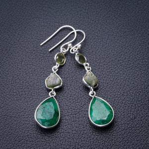 "StarGems Natural Emerald And Peridot Handmade 925 Sterling Silver Earrings 2"" D7550"