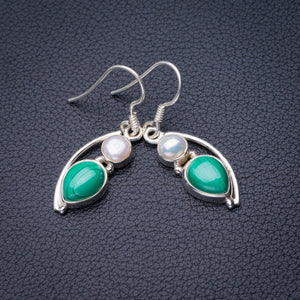 "StarGems Natural Malachite And River Pearl Handmade 925 Sterling Silver Earrings 1.25"" D7876"