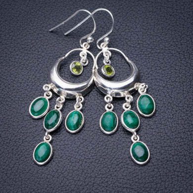 StarGems Natural Malachite And Peridot Handmade 925 Sterling Silver Earrings 2.25