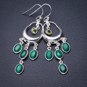 "StarGems Natural Malachite And Peridot Handmade 925 Sterling Silver Earrings 2.25"" D7879"