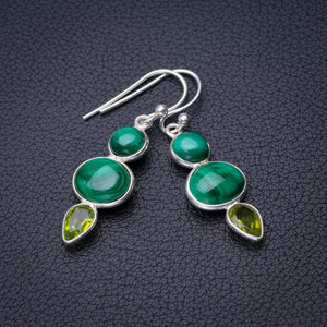 "StarGems Natural Malachite And Peridot Handmade 925 Sterling Silver Earrings 1.5"" D7881"
