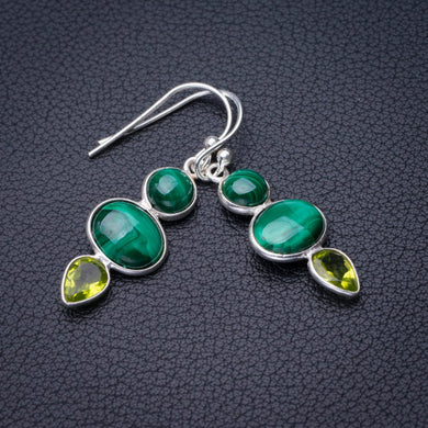 StarGems Natural Malachite And Peridot Handmade 925 Sterling Silver Earrings 1.5