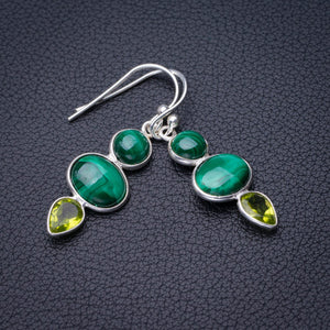 "StarGems Natural Malachite And Peridot Handmade 925 Sterling Silver Earrings 1.5"" D7882"