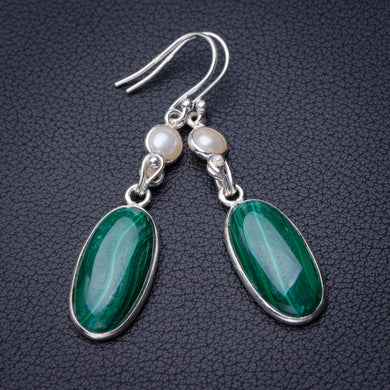 StarGems Natural Malachite And River Pearl Handmade 925 Sterling Silver Earrings 2