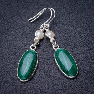 "StarGems Natural Malachite And River Pearl Handmade 925 Sterling Silver Earrings 2"" D7883"