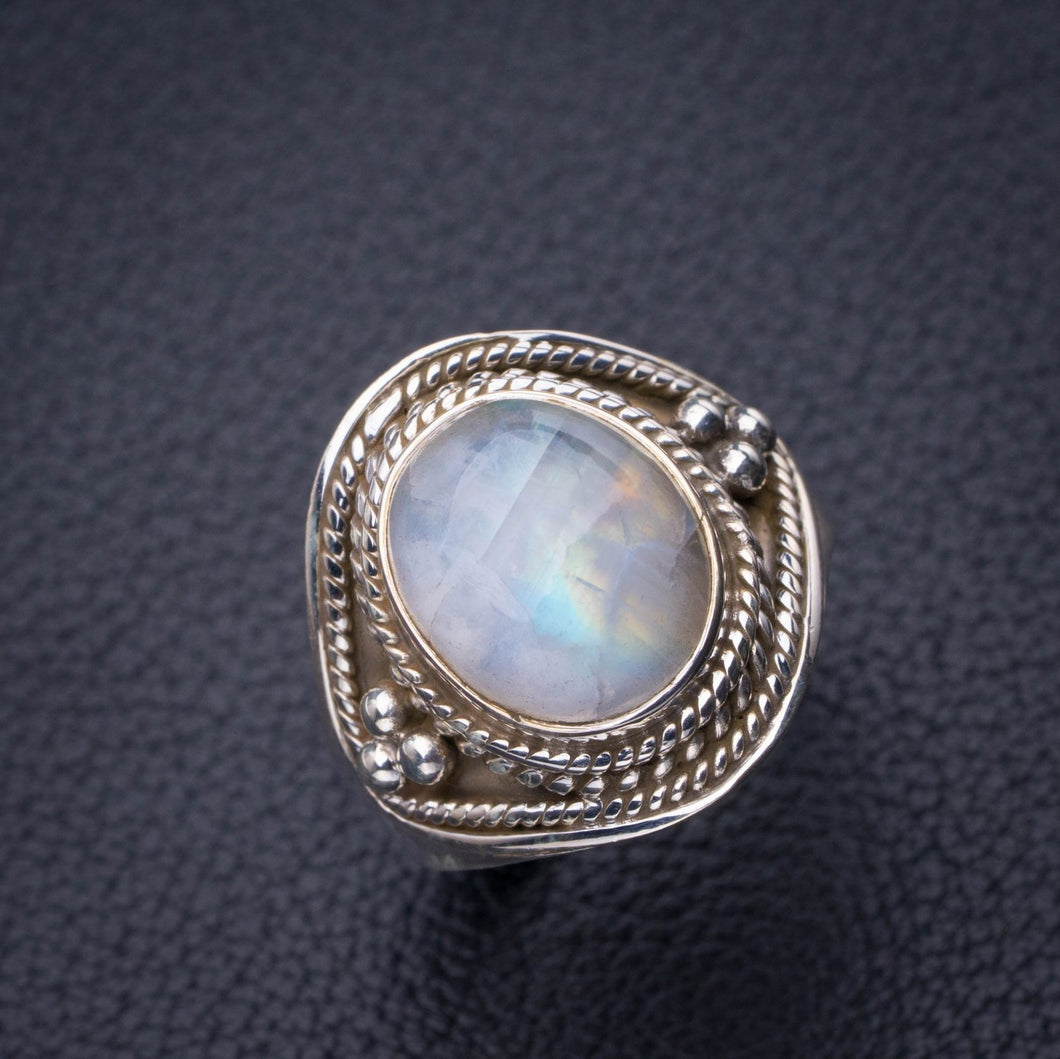 StarGems Natural Rainbow Moonstone Handmade 925 Sterling Silver Ring 8 D8115