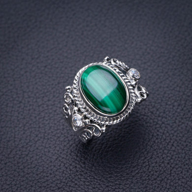 StarGems Natural Malachite And Zircon Handmade 925 Sterling Silver Ring 8.25 D8273