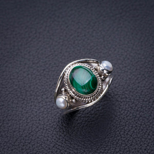 StarGems Natural Malachite And River Pearl Handmade 925 Sterling Silver Ring 7.25 D8280