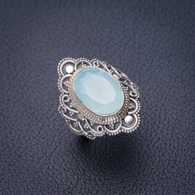 StarGems Natural Chalcedony Handmade 925 Sterling Silver Ring 8 D8801