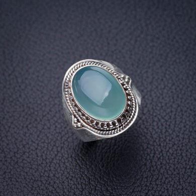 StarGems Natural Chalcedony Handmade 925 Sterling Silver Ring 6 D8804