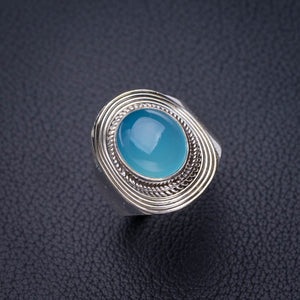 StarGems Natural Chalcedony Handmade 925 Sterling Silver Ring 9 D8809