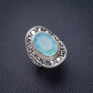 StarGems Natural Chalcedony Handmade 925 Sterling Silver Ring 5.5 D8810