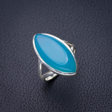 StarGems Natural Chalcedony Handmade 925 Sterling Silver Ring 7 D8821