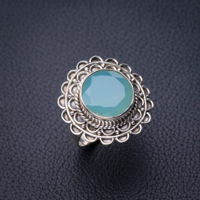 StarGems Natural Chalcedony Handmade 925 Sterling Silver Ring 6.5 D8822