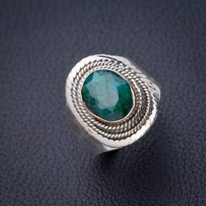 StarGems Natural Emerald Handmade 925 Sterling Silver Ring 8.25 D8961