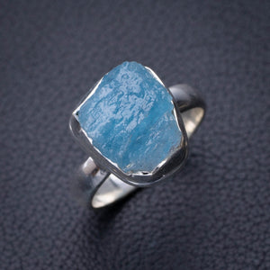 StarGems Natural Rough Aquamarine Handmade 925 Sterling Silver Ring 7.75 D9180