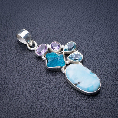 StarGems Natural Caribbean Larimar Apatite,Amethyst And Blue Topaz Handmade 925 Sterling Silver Pendant 2