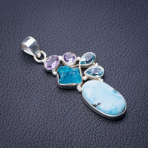 "StarGems Natural Caribbean Larimar Apatite,Amethyst And Blue Topaz Handmade 925 Sterling Silver Pendant 2"" D9301"
