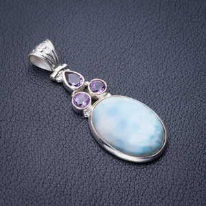 "StarGems Natural Caribbean Larimar And Amethyst Handmade 925 Sterling Silver Pendant 2"" D9302"