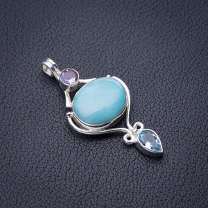 "StarGems Natural Caribbean Larimar,Blue Topaz And Amethyst Handmade 925 Sterling Silver Pendant 1.75"" D9303"