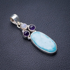 "StarGems Natural Caribbean Larimar,Amethyst And Moonstone Handmade 925 Sterling Silver Pendant 2"" D9305"