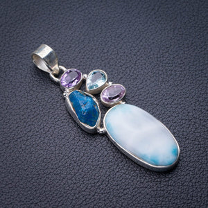 "StarGems Natural Caribbean Larimar Apatite,Amethyst And Blue Topaz Handmade 925 Sterling Silver Pendant 2"" D9309"