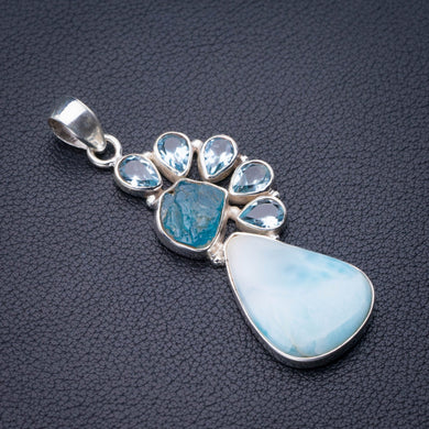 StarGems Natural Caribbean Larimar Apatite And Blue Topaz Handmade 925 Sterling Silver Pendant 2.25