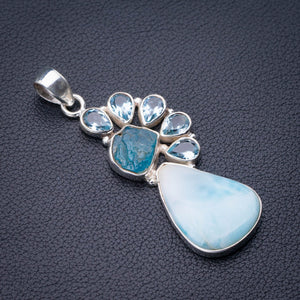 "StarGems Natural Caribbean Larimar Apatite And Blue Topaz Handmade 925 Sterling Silver Pendant 2.25"" D9320"