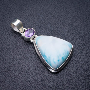 "StarGems Natural Caribbean Larimar And Amethyst Handmade 925 Sterling Silver Pendant 2"" D9327"