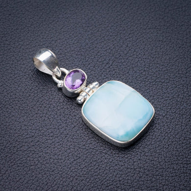 StarGems Natural Caribbean Larimar And Amethyst Handmade 925 Sterling Silver Pendant 1.75