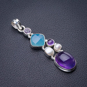 "StarGems Natural Amethyst,Chalcedony And River Pearl Handmade 925 Sterling Silver Pendant 2.25"" D9377"