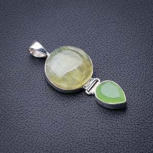 "StarGems Natural Prehnite And Chalcedony Handmade 925 Sterling Silver Pendant 2"" D9629"