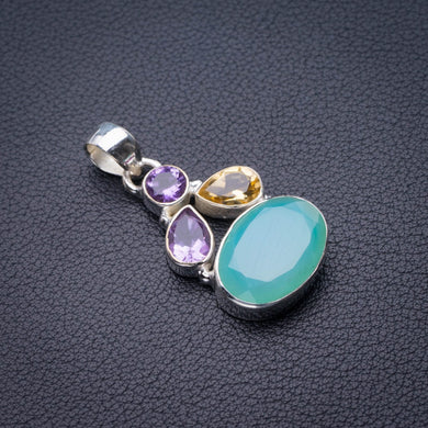 StarGems Natural Chalcedony,Citrine And Amethyst Handmade 925 Sterling Silver Pendant 1.5