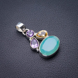 "StarGems Natural Chalcedony,Citrine And Amethyst Handmade 925 Sterling Silver Pendant 1.5"" D9915"