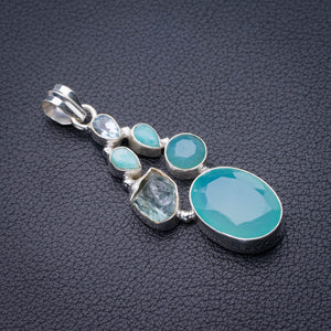 "StarGems Natural Chalcedony,Amazonite,Blue Topaz And Rough Aquamarine Handmade 925 Sterling Silver Pendant 2"" D9916"