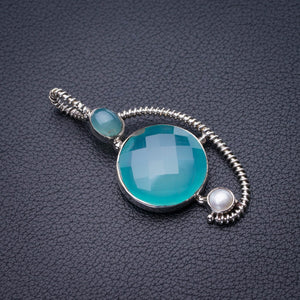 "StarGems Natural Chalcedony And River Pearl Handmade 925 Sterling Silver Pendant 2"" D9919"