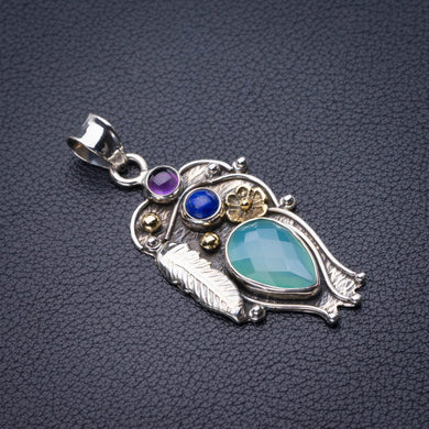 StarGems Natural Two Tones Chalcedony,Lapis Lazui And Amethyst Handmade 925 Sterling Silver Pendant 2