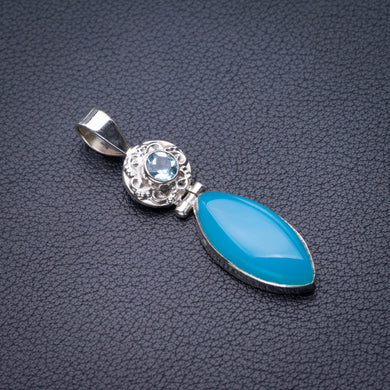 StarGems Natural Chalcedony And Blue Topaz Handmade 925 Sterling Silver Pendant 2