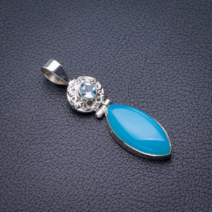 "StarGems Natural Chalcedony And Blue Topaz Handmade 925 Sterling Silver Pendant 2"" D9924"