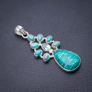 "StarGems Natural Amazonite,Turquoise And Blue Topaz Handmade 925 Sterling Silver Pendant 2.25"" D9931"