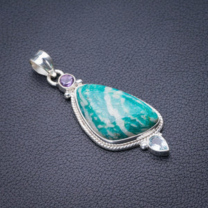 "StarGems Natural Amazonite,Amethyst And Blue Topaz Handmade 925 Sterling Silver Pendant 2.25"" D9932"