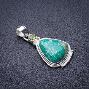 "StarGems Natural Amazonite And Peridot Handmade 925 Sterling Silver Pendant 1.75"" D9933"