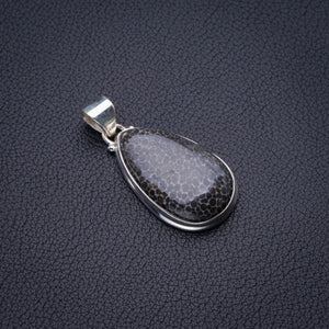 "Natural Stingray Coral Handmade 925 Sterling Silver Pendant 1.5"" D2565"