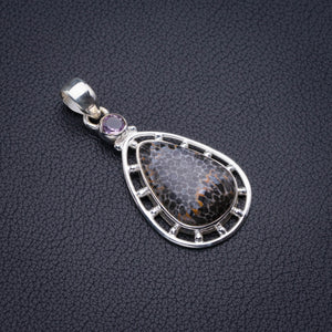 "Natural Stingray Coral And Amethyst Handmade 925 Sterling Silver Pendant 2"" D2566"